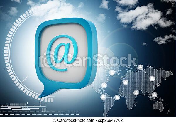 e, メール, アイコン, スピーチ, 泡 - csp25947762 e, メール, アイコン