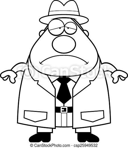 Vectors of Sad Cartoon Detective - A cartoon illustration of a ...