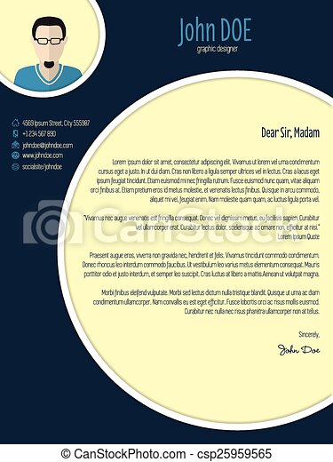 clip art vector of cool new modern cover letter template with circle