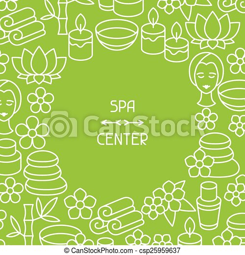 Spa and recreation background with icons in linear style