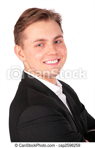 Young man in suit face close-up - csp2596259