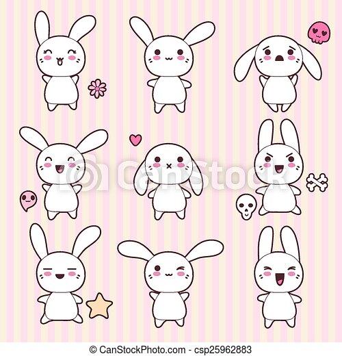 Vecteur de kawaii mignon lapins rigolote collection heureux csp25962883 recherchez - Lapin mignon dessin ...
