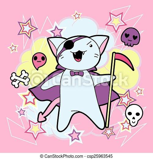 Vettore eps di kawaii halloween illustrazione gatto for Foto di disegni kawaii