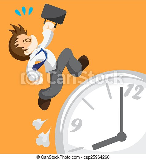 Clip Art Vector of Run out of time - Cartoon of running office ...
