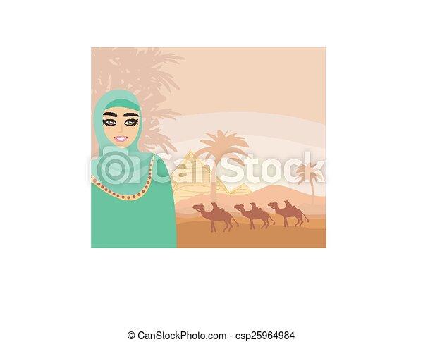 Vector de rabe mujer desierto  Arabian mujer en el