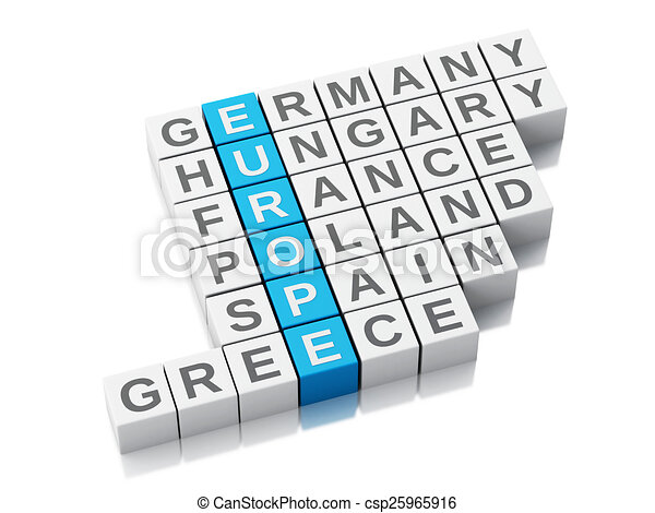 3d europe concept. Crossword with letters - csp25965916