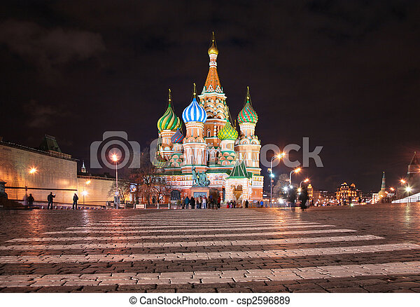 St. Basil's cathedral in Moscow at night - csp2596889