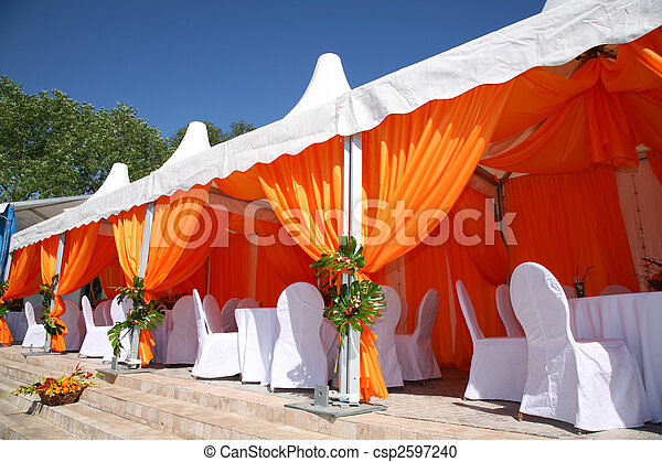 summer cafe under awning - csp2597240