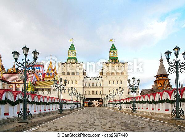 Two towers, to them bridge road with lanterns in izmajlovo - csp2597440