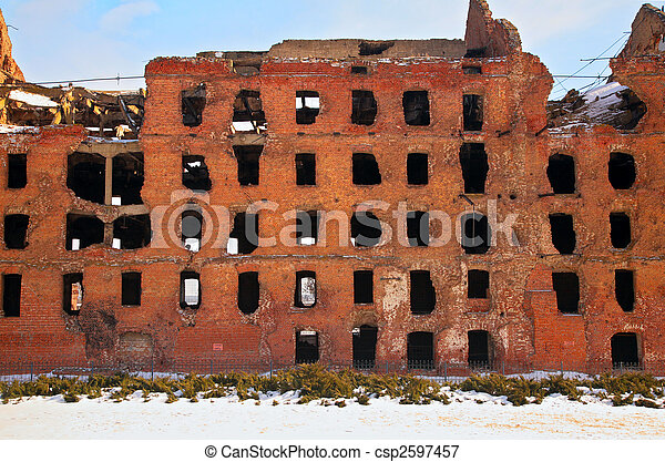 ruin after war in Volgograd - csp2597457
