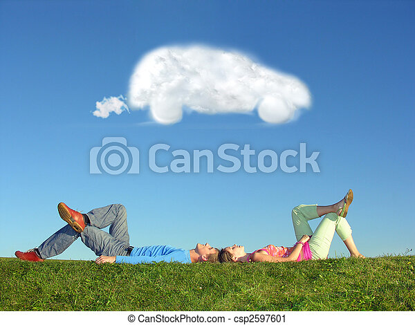 couple and cloud dream car - csp2597601