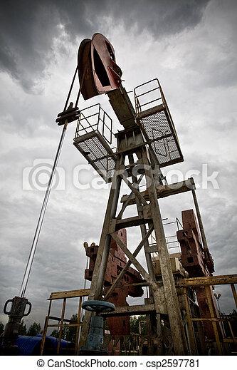Oil exploration closeup low angle view - csp2597781