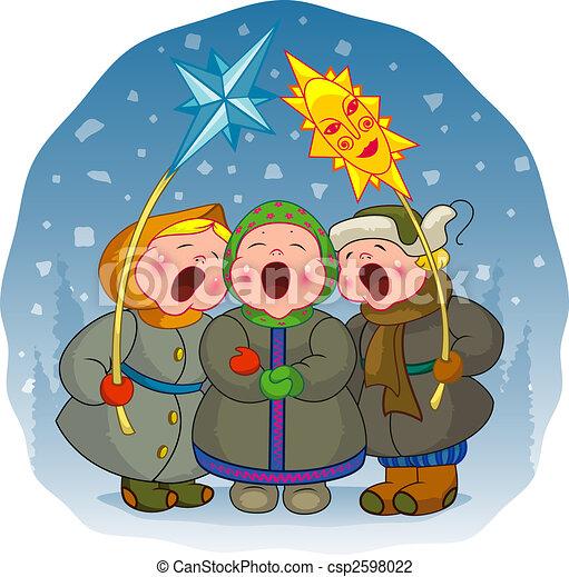 Children sing a Christmas song - csp2598022