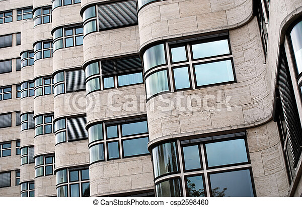 detailed view on the facade of the shell-haus in berlin, germany. architect of the bauhaus style building was Emil Fahrenkamp - csp2598460