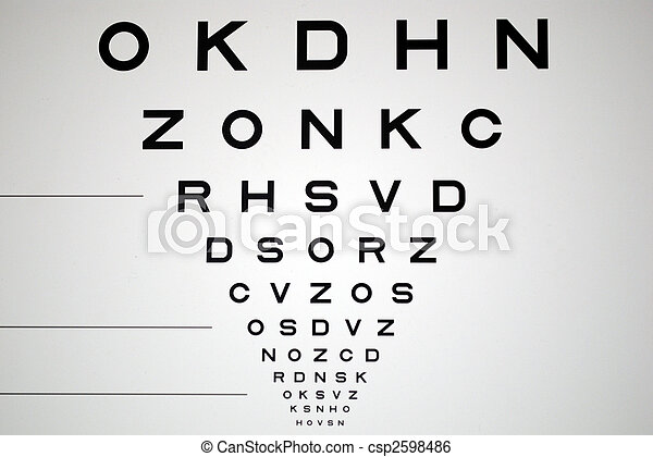 black and white eye chart for eye exam - csp2598486