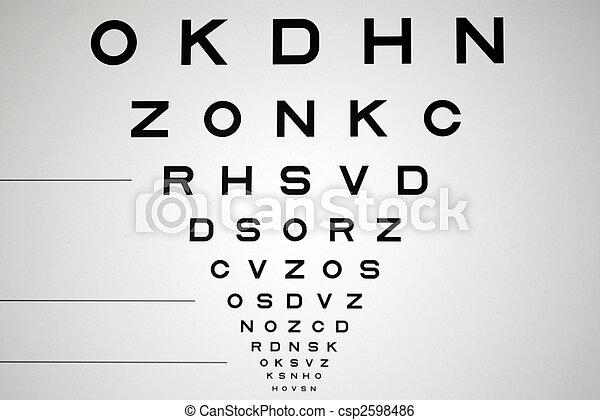 black and white eye chart for eye exam - csp2598486