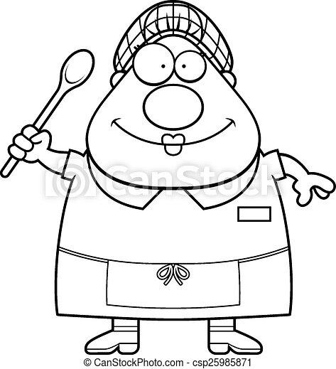 Happy Cartoon Lunch Lady 25985871
