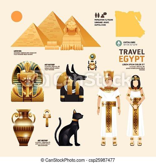 Egypt Flat Icons Design Travel Concept.Vector - csp25987477