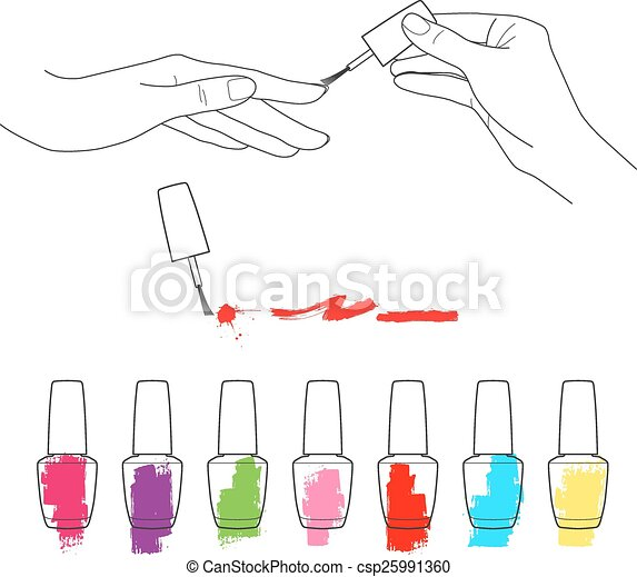 Clip Art Vector of Manicure, womens hands, the palette of ...
