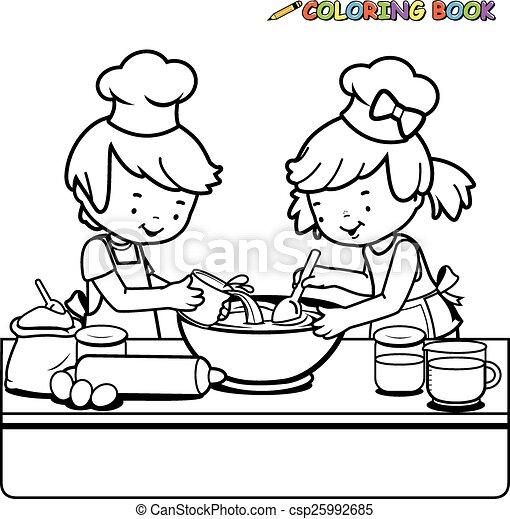 Wektory Kolorowanie Gotowanie Strona Dzieci