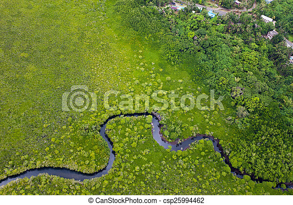 Aerial view with river