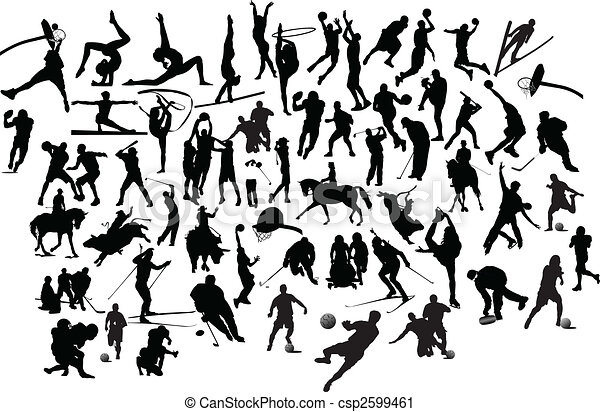 Collection of black and white sport silhouettes. Vector illustration - csp2599461