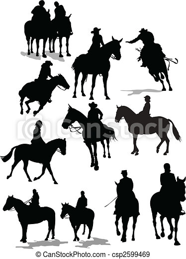 Horse rider silhouettes. Vector illustration - csp2599469