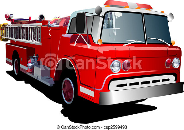 Fire engine ladder isolated on background. Vector illustration - csp2599493
