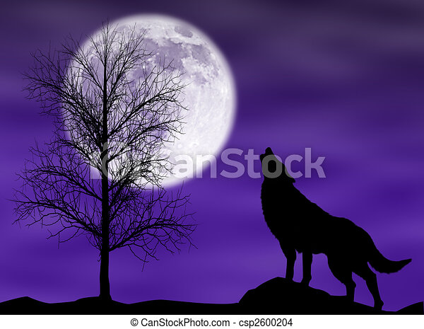 Wolf Moon Drawing Howling Wolf Csp2600204