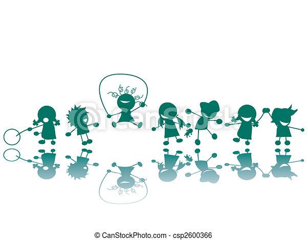 Children at the playground silhouettes - csp2600366