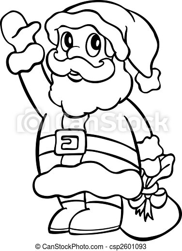 Santa waving line art - csp2601093