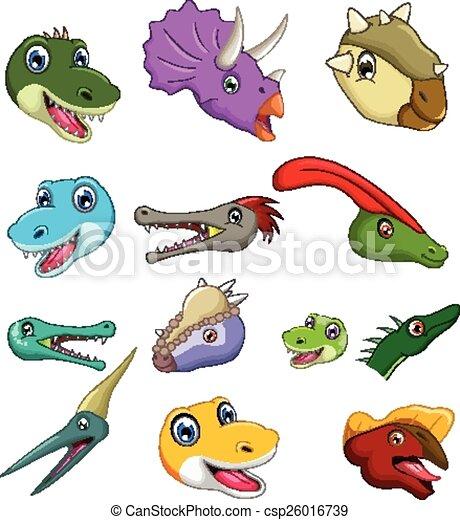Vecteurs de dinosaure t te dessin anim collection - Dinosaure dessin anime disney ...