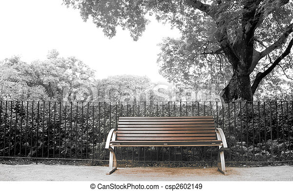 Brown bench with nobody in the park - csp2602149