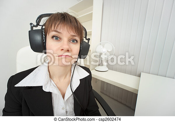 Ridiculous woman dressed on head big ear-phones - csp2602474