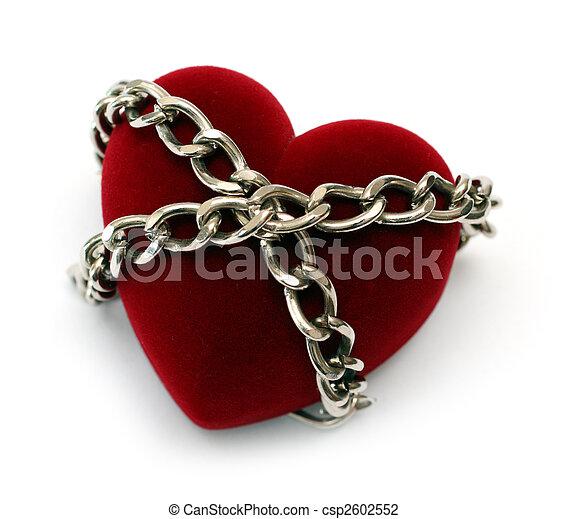 red heart locked with chain - csp2602552