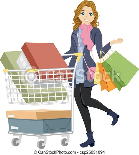 eps vectors of teen girl shopping   illustration of a