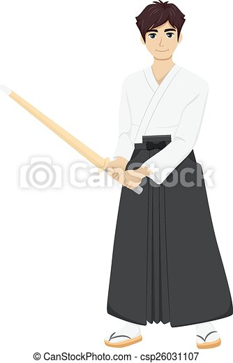 Vector Clipart of Teen Guy Kendo - Illustration of a Teenage Boy ...