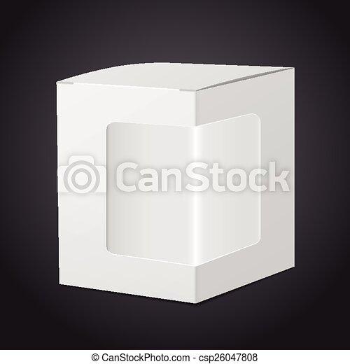 clipart vecteur de bo te paquet plastique fen tre carton transparent csp26047808. Black Bedroom Furniture Sets. Home Design Ideas
