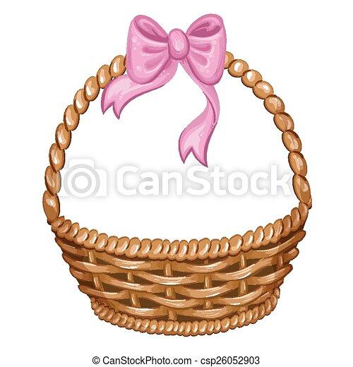 Vector clip art de cesta mimbre ilustraci n - Cestas de mimbre para bebes ...