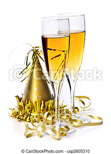 Champagne and New Years decorations - csp2605310