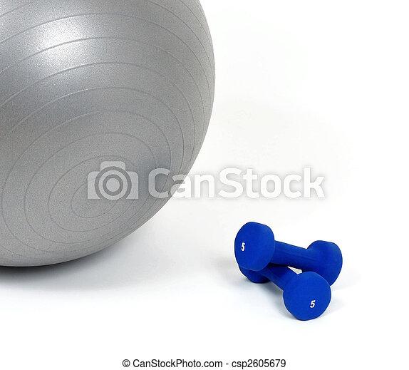Fitness ball and dumb bells - csp2605679