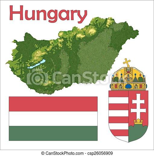 Hungary map flag coat