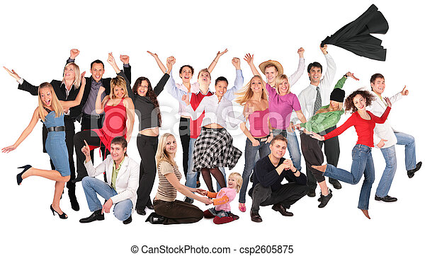happy people group isolated collage - csp2605875