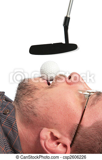 Lying man holds golf ball in mouth for boss - csp2606226