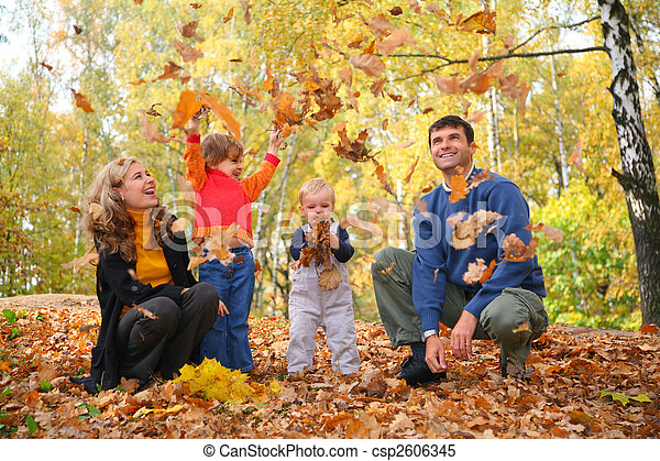family throw autumnal leaves - csp2606345