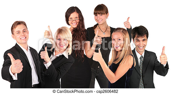 business people group with ok gesture - csp2606482