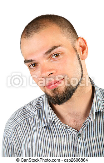 Young skinhead beard man isolated on white background - csp2606864
