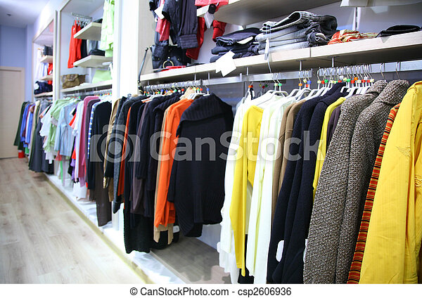 Clothes on rack in shop - csp2606936