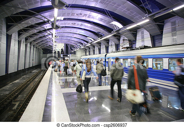 People and a train at metro station - csp2606937