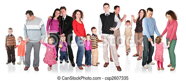 many family with children group isolated - csp2607335